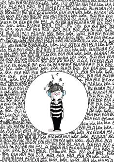 """Lámina Diario de una volátil: """"bla bla bla"""" , impreso en papel mate (300 gr). Firmado personalmente en la parte frontal. Comprar láminas de Agustina Guerrero."""
