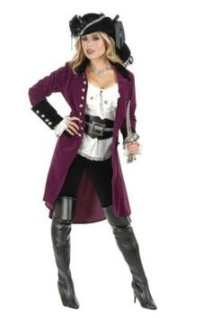 Pirate Vixen Two Toned Velvet Coat w/Skull Buttons COAT  sc 1 st  Pinterest & My pirate costume with leggings u0026 a short sleeved chemise ...