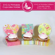 """This listing is for 3 SVG patterns and 3 printable pattern for the boxes to make your own party cupcake holder.  *The dimensions     holder: 3.5"""" x 3.5"""" x 1""""     heart: 5.5"""" x 5.5""""     circle: 4"""" x 4""""     rectangle: 3.5"""" x 4.5""""  *The SVG files is to be cut on 11 x 8.5 inch size paper.  *The Printable files is in JPEG format and to be printed on 11 x 8.5 inch size paper."""
