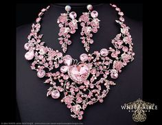 Pink Bridal Jewelry Set, Bridal Statement Necklace, Crystal Heart Necklace, Chunky Necklace, Vintage Style Necklace, Wedding Jewelry