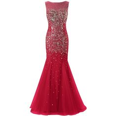 Dresstells Long Mermaid Prom Dress Tulle Evening Party Dress with... ($170) ❤ liked on Polyvore featuring dresses, red dress, prom dresses, tulle prom dresses, red holiday cocktail dress and evening cocktail dresses