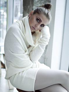 Milky Woolen Asymmetric Long Sweater