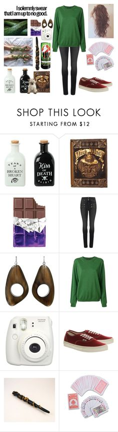 """""""Slytherin"""" by katherinewithak on Polyvore featuring Hot Topic, Paige Denim, Sofie D'hoore, Fujifilm, Vans and Stele"""