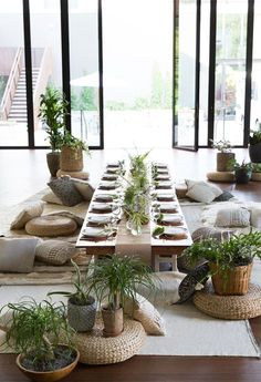 amazing dinner party setup. love the floor pillows—A Modern Botanical Dinner Party