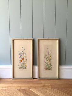 Set Bilder (zwei Stück), Radierungen, Blumen, Kunst, Malerei, Mid century, Germany, Art, 50ziger, Signiert von moovi auf Etsy