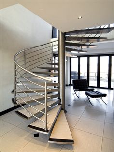 Home Design and Decor , Interior Stainless Steel Railing For Stairs : Spiral Modern Stainless Steel Railing For Stairs Spiral Staircase Kits, Spiral Stairs Design, Steel Railing Design, Staircase Railing Design, Floating Staircase, Open Staircase, Staircase Ideas, Stair Design, Staircase Makeover
