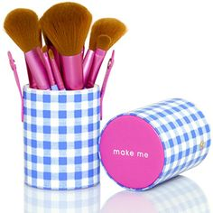 Make Up Brushes - Set of 10 - Best Professional Brush Kit With Designer Leatherette Holder - Pink and Blue Synthetic Vegan Brushes With Checkered Case -- Check out the image by visiting the link.