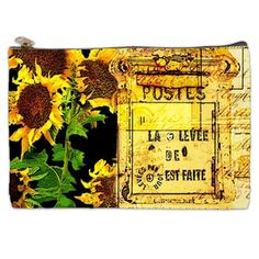 J'aime this French post card cosmetic bag @Etsy - sunflowers in Paris, delightful!
