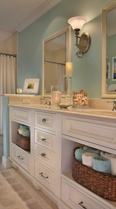 If we make the guest bath vanity, use an open space, small drawers, and a single cabinet door to hide plumbing