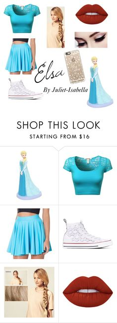 """Elsa ❄️☃"" by juliet-isabella ❤ liked on Polyvore featuring Disney, Converse, Hershesons, Lime Crime and Casetify"