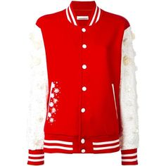 Night Market embellished varsity jacket (£425) ❤ liked on Polyvore featuring outerwear, jackets, red, college jacket, red varsity jacket, red jacket, varsity-style bomber jacket and varsity jacket