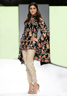 silk embroidered jacket shirt with cold shoulder kimino sleeves Silk avian inspired embroidered straight pants