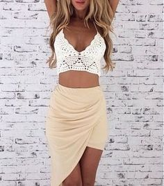 #street #style draped skirt + crochet crop top @wachabuy