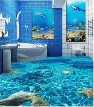 Custom Floor Wallpaper Underwater World Toilet Bathroom Bedroom Floor Mural PVC Waterproof Self-adhesive Papel De Parede 3d Floor Art, 3d Floor Painting, Floor Murals, Floor Decal, Floor Stickers, Wall Murals, Wall Stickers, 3d Wallpaper For Walls, Painting Wallpaper