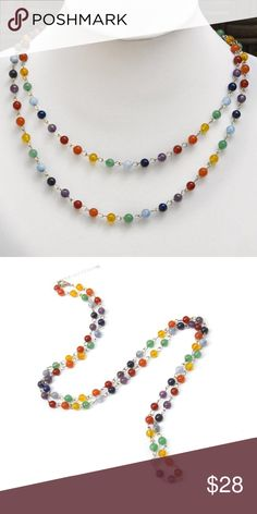 "Natural Gemstone Chakra Necklace 🌈 Natural Gemstone chain including Agate, Aventurine, Citrine, Aquamarine, Lapis Lazuli, and Amethyst. This necklace measures approximately 40"" long and has a 2"" extender. Yoga. Chakra. Jewelry Necklaces"