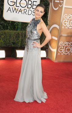 Mila Kunis why? Why oh why did you pick THIS?! Ugh. Bad. #2014GoldenGlobes #RedCarpet