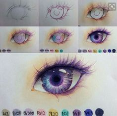 Process of an anime eye