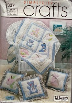 Simplicity-337-1985-Babies-Crib-Blanket-Quilt-and-Pillows-25-Appliques-FF