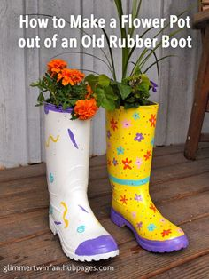 With a few supplies, you can turn an old rubber boot that was headed for the dumpster into a cute and practical flower planter. Add a little whimsy to your garden with this recycled boot flower pot. Cement Flower Pots, Flower Planters, Diy Planters, Garden Planters, Old Boots, Wellies Boots, Homemade Bird Houses, Garden Boots, Garden Hose