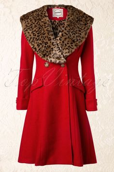 Banned - 50s Red Winter Coat With Leopard Print