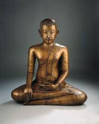 a rare thai, sukhothai/ayutthaya style, bronze figure of gautama siddharta 16th century  Seated in virasana, his right hand in bhumisparsamudra, the left resting on his lap in katakahastamudra, wearing samghati leaving his right shoulder bare, his face with serene expression, arched eyebrows, incised eyes, aquiline nose, slightly smiling lips, short earlobes, curled hairdress and bald bump, traces of black lacquer 83 cm high