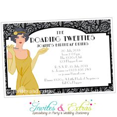 Roaring Twenties Party Invitation in Gold