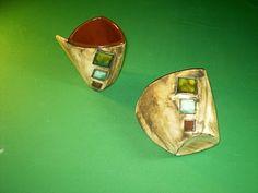 Ceramica Pigmentos: TAZAS TRIANGULARES Gold Rings, Gemstone Rings, Cuff Bracelets, Gemstones, Patio, Jewelry, Enamels, Mugs, Originals