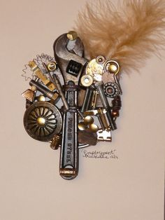 Employment  mixed media assemblage art by IntrinsicAssemblage, $175.00