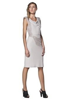 https://www.cityblis.com/4274/item/6199  Knee-length jersey dress, at 40.00% off by Freak Factory   Elegant knee-length dress with lining. Cut from lightweight jersey and terry cloth fabrics. The raised shoulder line adds structure to the entire silhouette. Nicely draped neckline and terry cloth detail highlight feminine curves, turning this garment into a glam-dress.   Material: - body: 95% v...