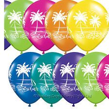 10 Flower & Palm Tree Helium or Air Balloons Tropical Hawaiian Party…