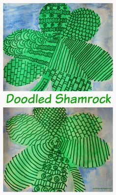 Doodled shamrock. Doodling fun for kids! Simple and fun painting activities for kids for St.Patrick's day.