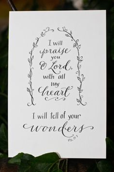 Hand-Lettered Scripture Print - Psalm 9:1 - Bella Scriptura Collection from Paperglaze Calligraphy