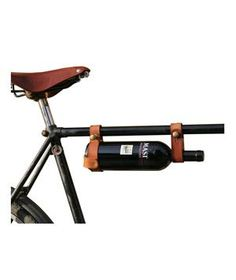Bicycle Wine Rack: No need to worry about a clinking bottle on your ride to a friend's house—this minimal yet sturdy leather attachment keeps a bottle of vino safely strapped to your ride.