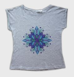 EXCLUSIVE grey t-shirt with digital print. by VirtueDesignShop on Etsy