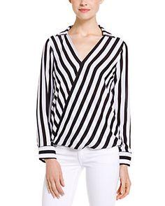 BB Dakota Paxton Black & White Gatsby Stripe Wrap Top