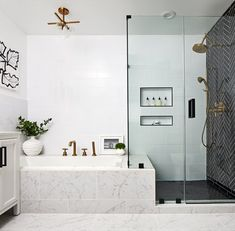 Delightful bathroom tub shower combo remodeling ideas 33 - Freestanding bathtubs are the focus of your bathroom, especially in the event that you put them in the middle of the room. It is possible to also deci. Bathroom Layout, Bathroom Interior Design, Bathroom Cabinets, Bathroom Mirrors, Tile Layout, Marble Bathrooms, Interior Decorating, Master Bath Layout, Interior Livingroom