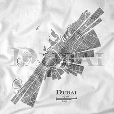 Dubai City, unique map design by ShirtUrbanization. Follow on Facebook www.facebook.com/ShirtUrbanization
