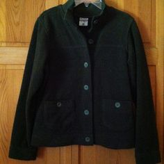Size S Columbia Olive Jacket Olive green jacket. Ribbed collar.   Feel of terry cloth but it isn't.  55% cotton.  25% polyester.  20% acrylic. Columbia Jackets & Coats