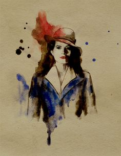 Agent Carter ink marker and watercolor on paper fanart by helene-draws