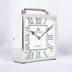 Silver Table/Mantel Clock 49 Bond Street Nickel Square London Desk White Mantle | Home & Garden, Home Décor, Clocks | eBay!