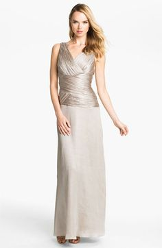 Time for the MOB to start shopping! Calvin Klein Ruched Bodice Textured Column Gown | Nordstrom