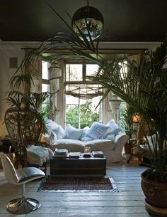 dogs would have a hayday with that pristine white couch, love the palms though!