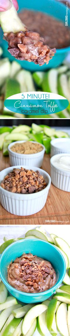 5 MINUTES to heaven! Simply mix cream cheese, sugars, toffee bits, cinnamon and vanilla and you have the what tastes like creamy cinnamon caramel. My go to party dip that everyone LOVES!
