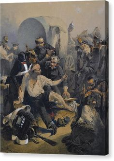 Russian troops treating their wounded after the Battle of Inkerman, Crimean War- by Mihaly von Zichy Russian Painting, Russian Art, Ww2 Posters, Romantic Paintings, Crimean War, Santa Lucia, Traditional Paintings, Watercolor Portraits, Figurative Art