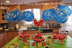 A DIY Nintendo Birthday Party! For your little Mario or Princess Peach! #tableskirts #partysupplies get the look at tableskirtsandmore.com