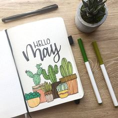 Bullet Journal Monthly Cover Page May Cover Hand Lettering Cactus Drawin . - Bullet Journal Monthly Cover Page May Cover Hand Lettering Cactus Drawin – sheet # - Bullet Journal Doodles, Planner Bullet Journal, Bullet Journal Cover Page, Bullet Journal Notebook, Bullet Journal School, Bullet Journal Themes, Bullet Journal Spread, Bullet Journal Layout, Journal Covers