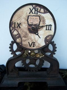 Steampunk Clock Altered Art Cast Iron by AngelandAnnie on Etsy, $35.00, also wanted to show you a new amazing weight loss product sponsored by Pinterest! It worked for me and I didnt even change my diet! I lost like 16 pounds. Check out image