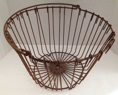 Large Wire Basket Vintage Metal Egg Basket with Handle Rustic Farmhouse Country Decor Floor Display or Hanging by aroundtheclock on Etsy