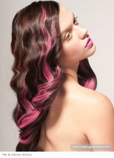 Image result for pink highlights in brown hair Rosa Highlights, Pink Hair Highlights, Pink Streaks, Hair Streaks, Color Streaks, Color Highlights, Feathered Hairstyles, Cool Hairstyles, Hairstyle Ideas