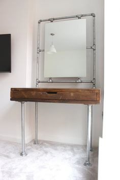 Meila Reclaimed Medium Oak Stained Scaffolding Board Industrial Style Dressing Table with Galvanised Threaded Steel Pipe Framed Mirror Interior Design Pictures, Interior Design Gallery, Interior Design Software, Interior Design Images, Salon Interior Design, Beauty Salon Interior, Interior Design Magazine, Pipe Furniture, Furniture Design
